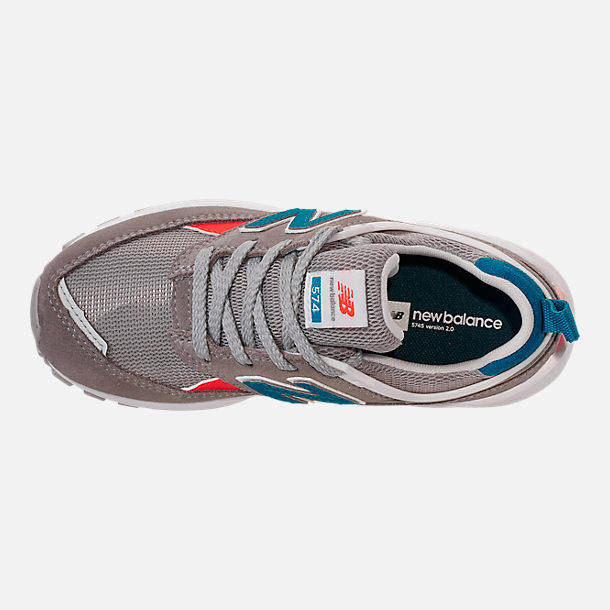 Top view of Boys' Big Kids' New Balance 574 Sport V2 Casual Shoes in Marblehead/Deep Ozone Blue