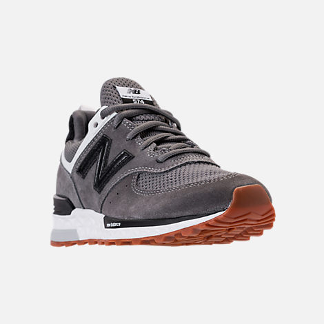 Three Quarter view of Boys' Big Kids' New Balance 574 Sport Casual Shoes in Castlerock/Black