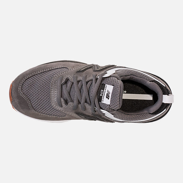 Top view of Boys' Big Kids' New Balance 574 Sport Casual Shoes in Castlerock/Black