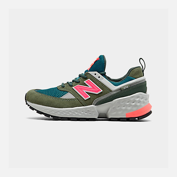 Right view of Boys' Big Kids' New Balance 574 Sport Casual Shoes in Mineral Green/Guava