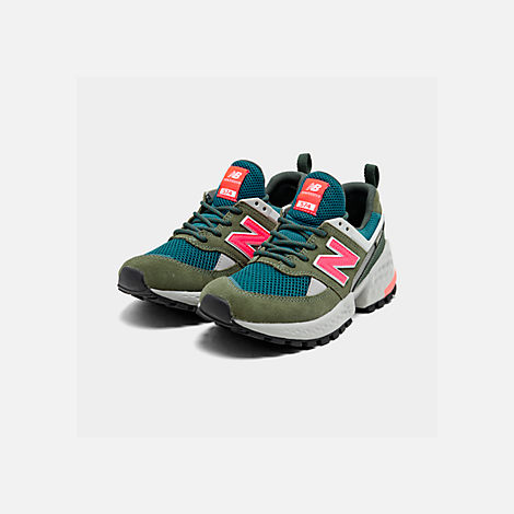 Three Quarter view of Boys' Big Kids' New Balance 574 Sport Casual Shoes in Mineral Green/Guava