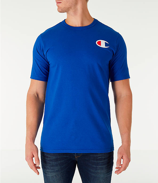 Front view of Men's Champion Life C Logo T-Shirt in Surf The Web