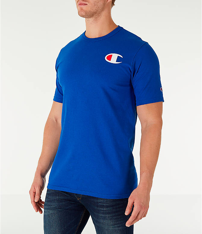 Front Three Quarter view of Men's Champion Life C Logo T-Shirt in Surf The Web