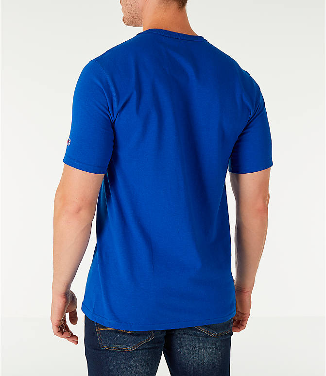 Back Left view of Men's Champion Life C Logo T-Shirt in Surf The Web