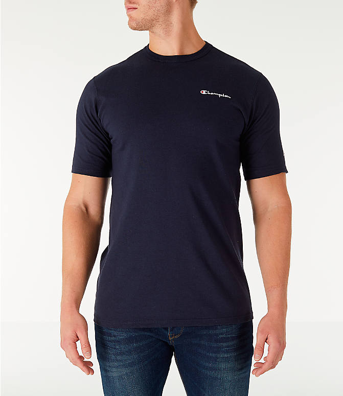Front view of Men's Champion Life Script T-Shirt in Navy