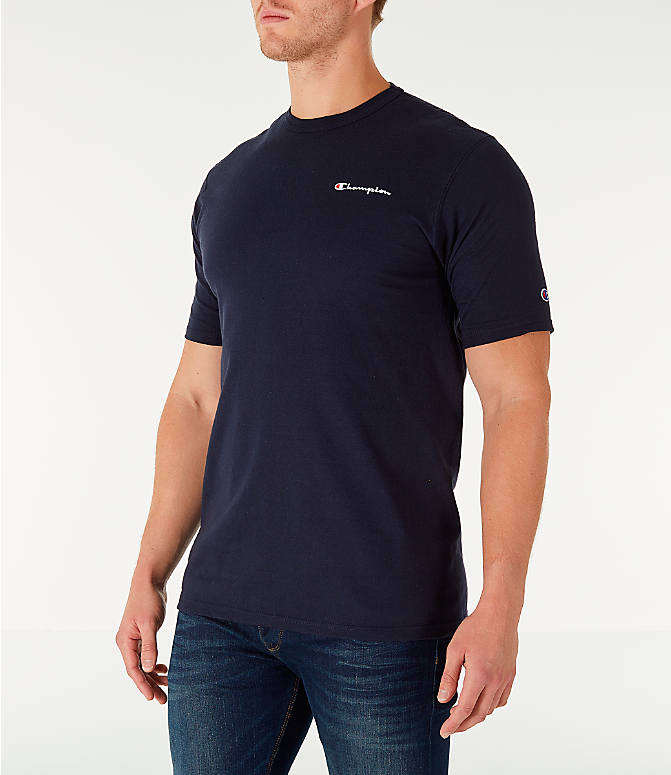 Front Three Quarter view of Men's Champion Life Script T-Shirt in Navy