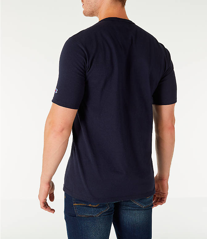 Back Left view of Men's Champion Life Script T-Shirt in Navy