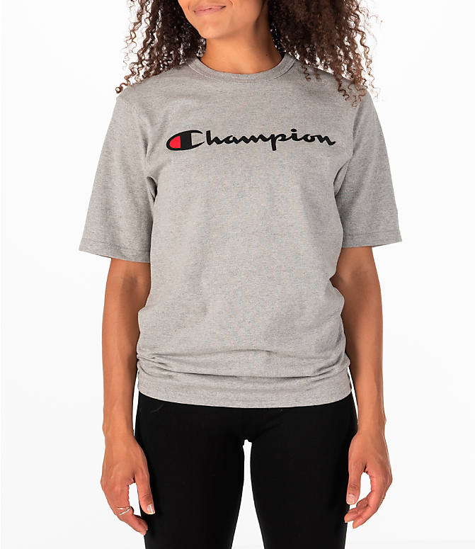 b6d0b19a6c05ba Front view of Women's Champion Heritage HBR T-Shirt in Oxford Grey
