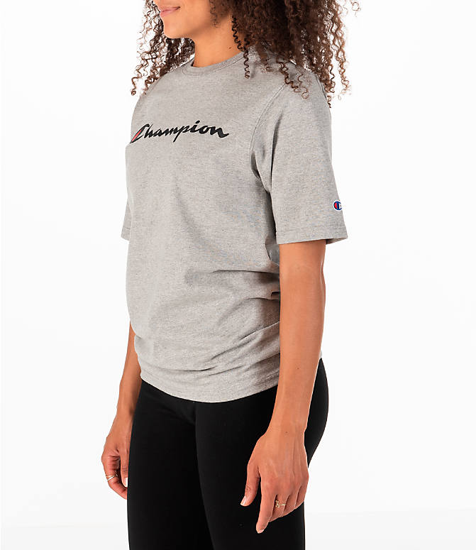 Front Three Quarter view of Women's Champion Heritage HBR T-Shirt in Oxford Grey