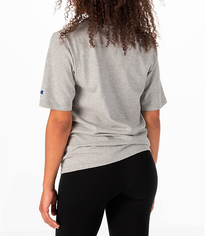 Back Left view of Women's Champion Heritage HBR T-Shirt in Oxford Grey