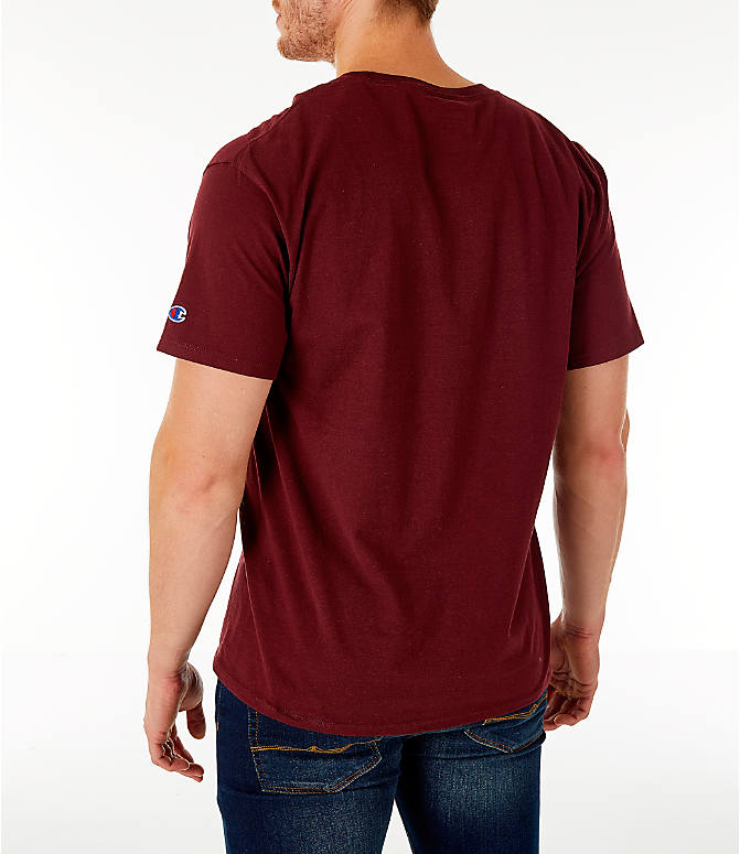 Back Left view of Men's Champion Big C Logo T-Shirt in Maroon