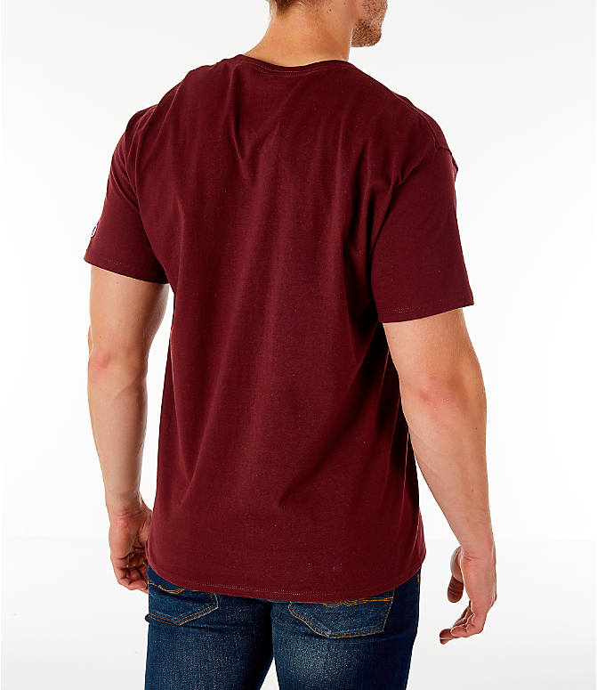 Back Right view of Men's Champion Big C Logo T-Shirt in Maroon