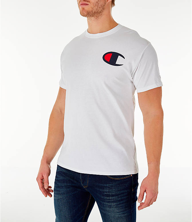 Front Three Quarter view of Men's Champion Big C Logo T-Shirt in White