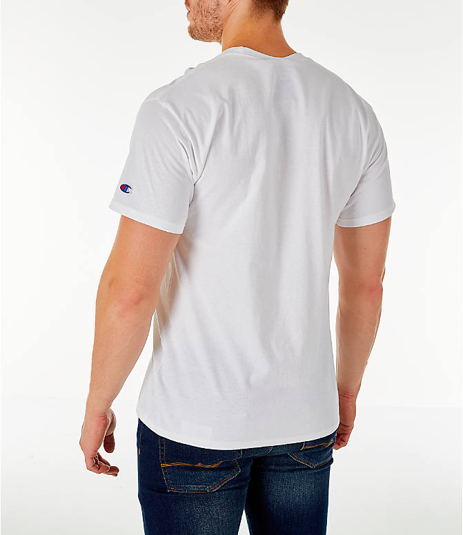 Back Left view of Men's Champion Big C Logo T-Shirt in White
