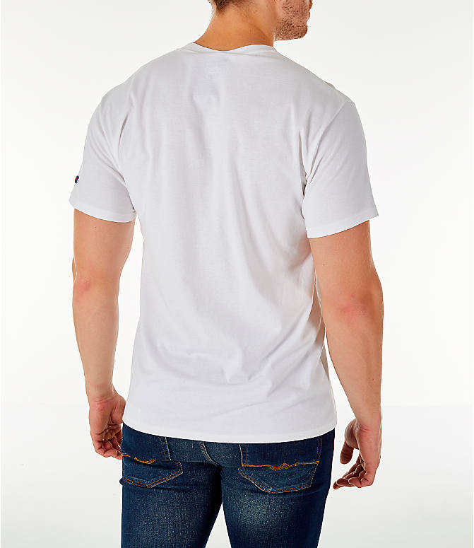 Back Right view of Men's Champion Big C Logo T-Shirt in White