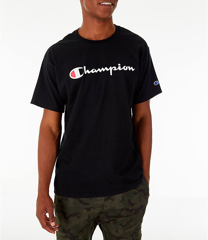 Front view of Men's Champion Graphic Jersey T-Shirt in Black