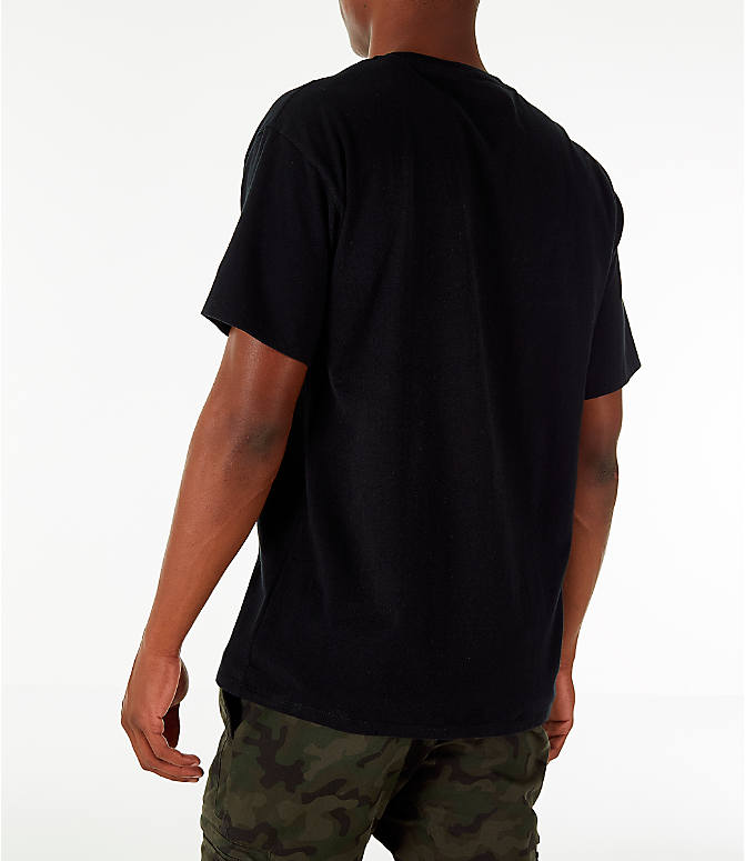 Back Left view of Men's Champion Graphic Jersey T-Shirt in Black
