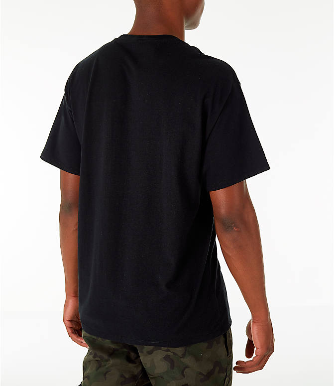 Back Right view of Men's Champion Graphic Jersey T-Shirt in Black