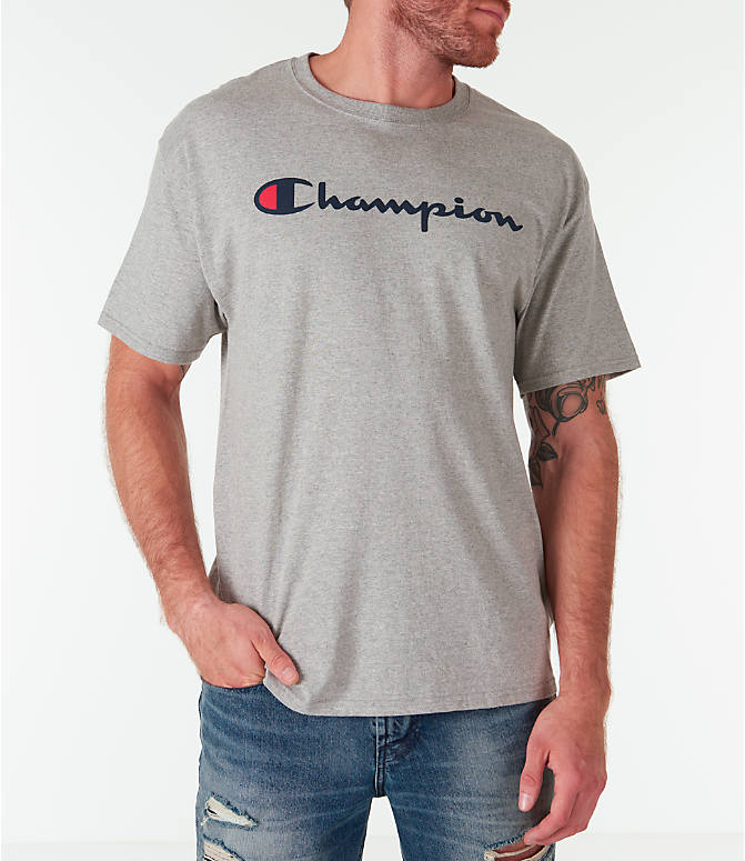 Front view of Men's Champion Graphic Jersey T-Shirt in Oxford Grey