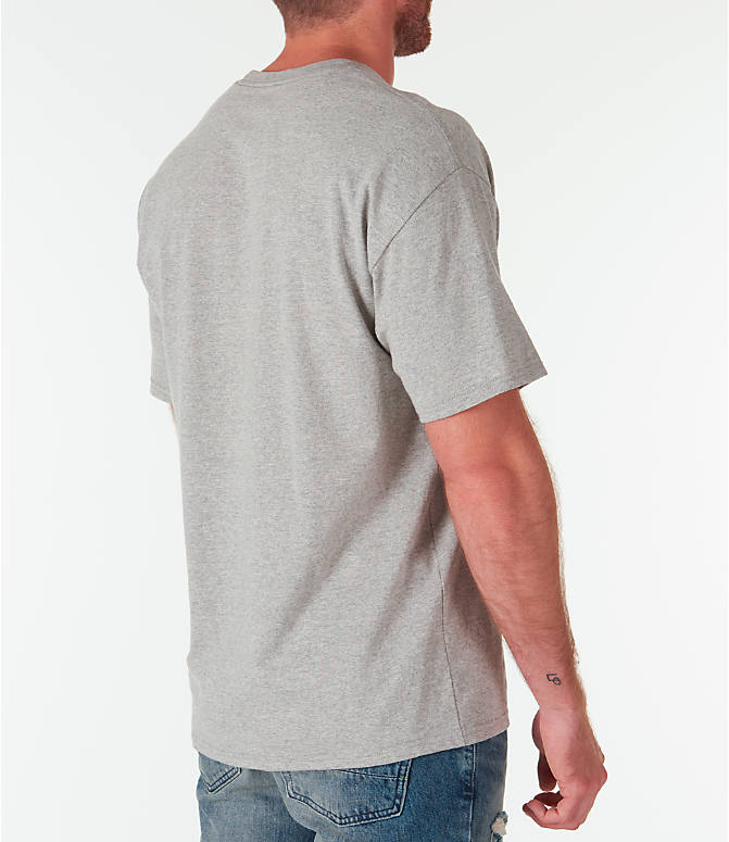 Back Right view of Men's Champion Graphic Jersey T-Shirt in Oxford Grey