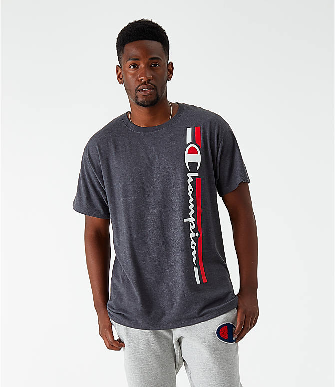 Front view of Men's Champion Vertical Script T-Shirt in Granite Heather