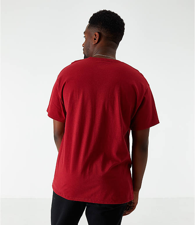 Back Left view of Men's Champion Vertical Script T-Shirt in Cherry Pie