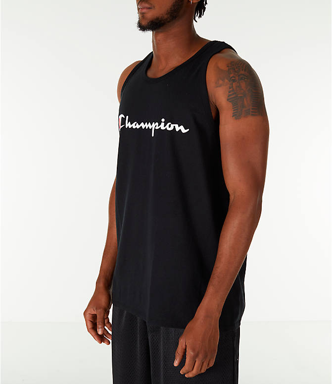 Front Three Quarter view of Men's Champion Script Tank in Black