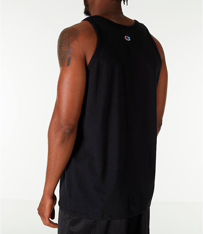 Back Left view of Men's Champion Script Tank in Black