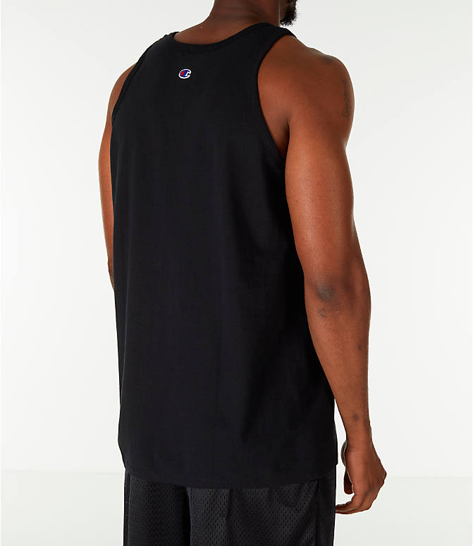 Back Right view of Men's Champion Script Tank in Black