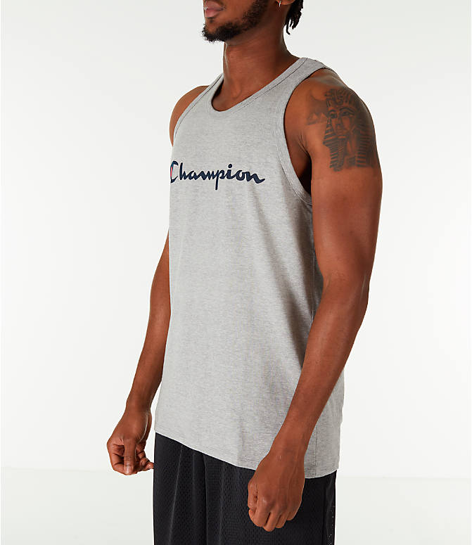 Front Three Quarter view of Men's Champion Script Tank