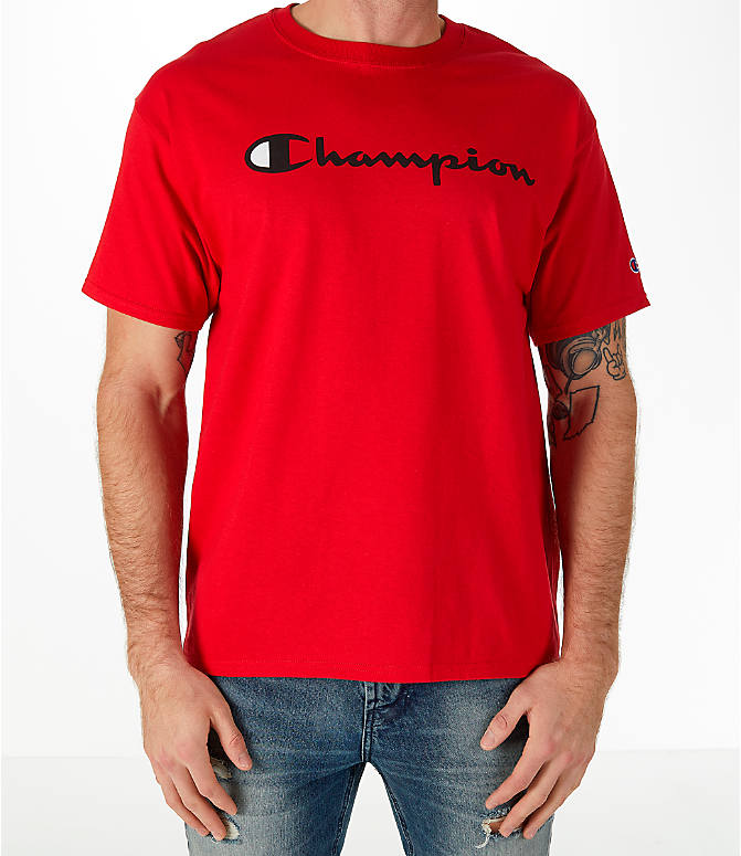 Front view of Men's Champion Graphic T-Shirt in Red