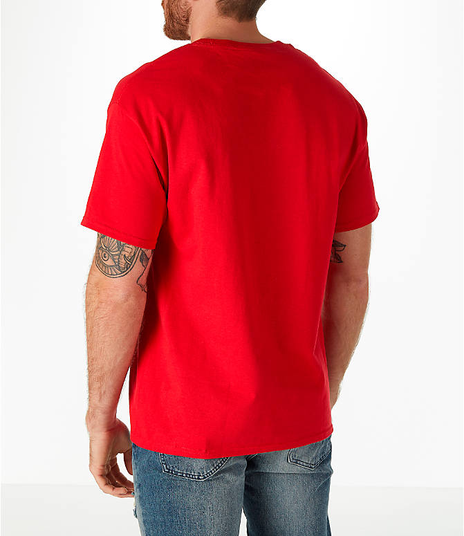 Back Left view of Men's Champion Graphic T-Shirt in Red