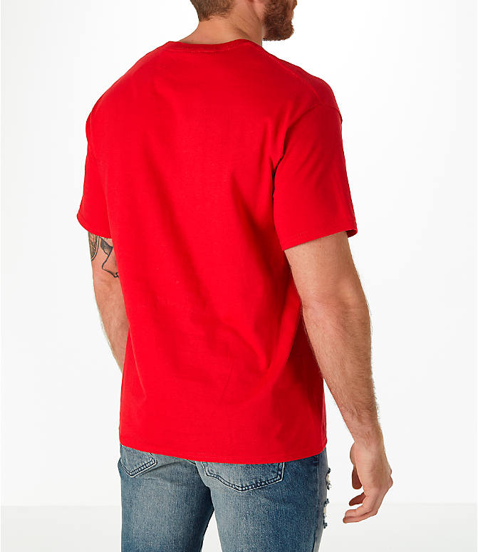 Back Right view of Men's Champion Graphic T-Shirt in Red
