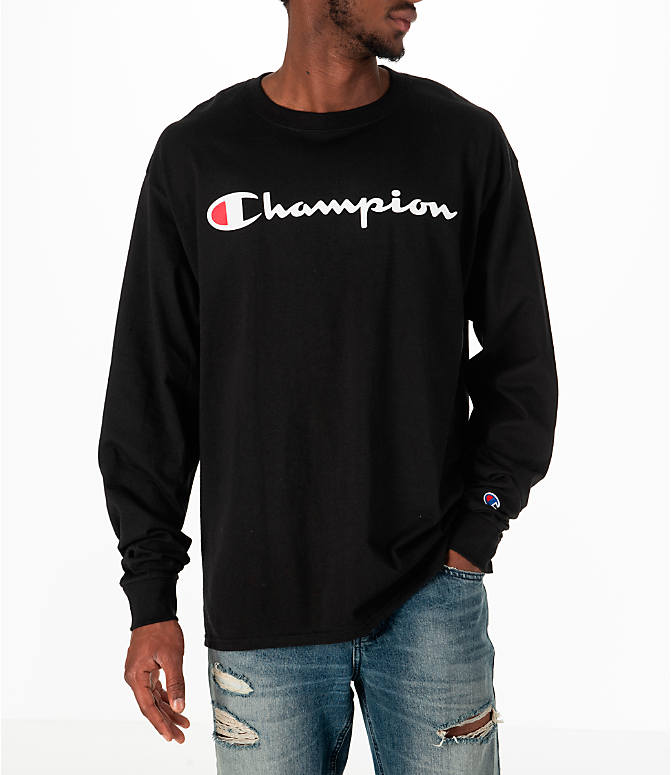 Front view of Men's Champion Classic Graphic Long-Sleeve T-Shirt in Black