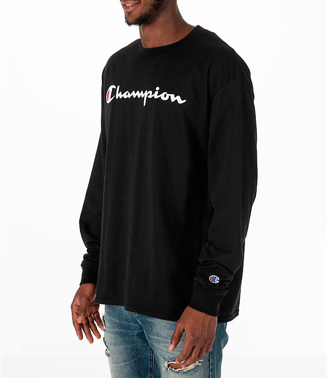 Front Three Quarter view of Men's Champion Classic Graphic Long-Sleeve T-Shirt in Black