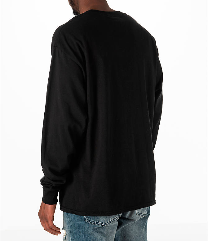 Back Left view of Men's Champion Classic Graphic Long-Sleeve T-Shirt in Black