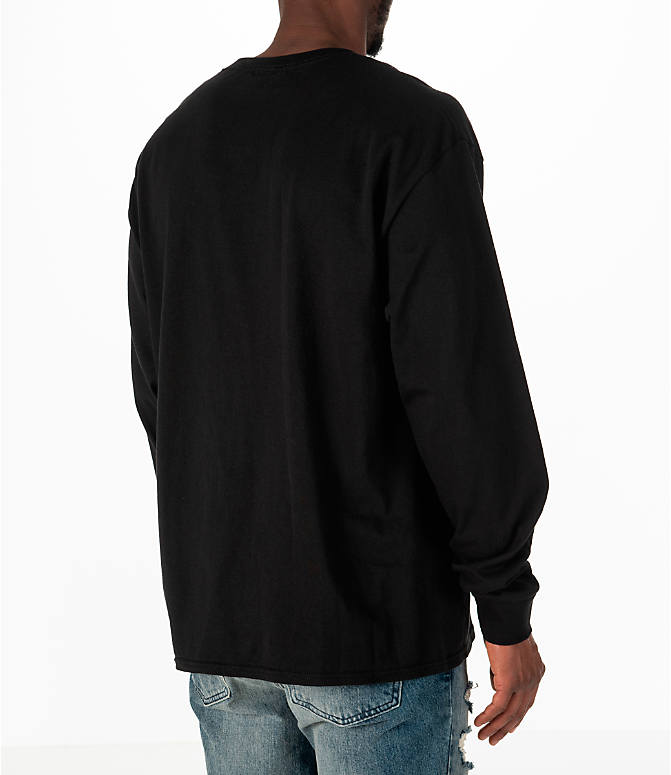 Back Right view of Men's Champion Classic Graphic Long-Sleeve T-Shirt in Black