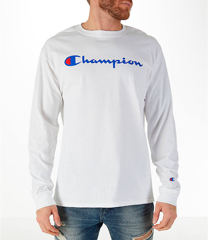 Front view of Men's Champion Classic Graphic Long-Sleeve T-Shirt in White