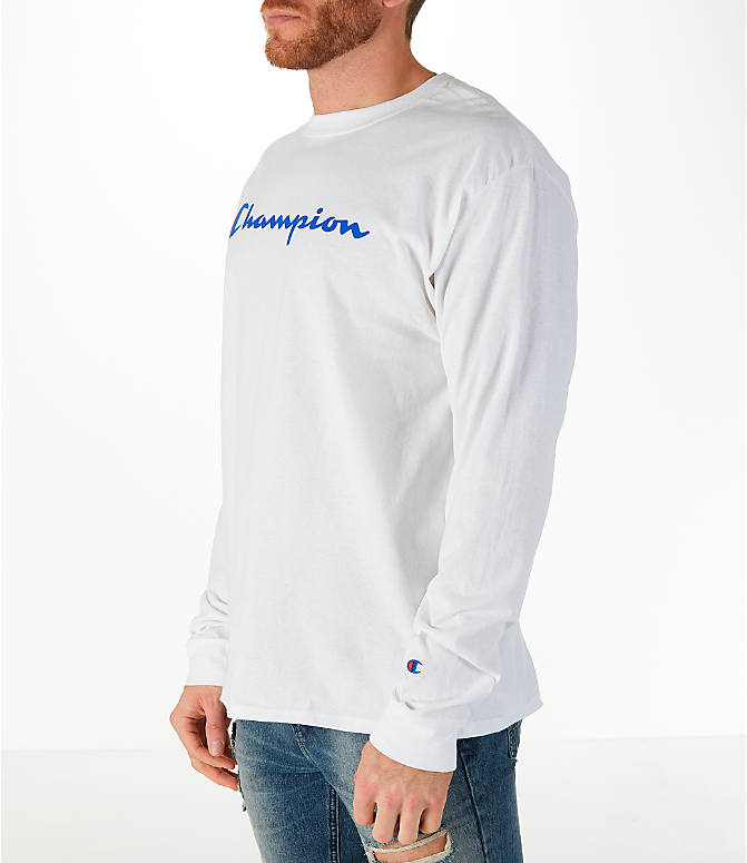 Front Three Quarter view of Men's Champion Classic Graphic Long-Sleeve T-Shirt in White