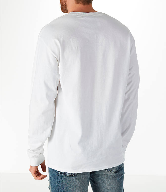 Back Left view of Men's Champion Classic Graphic Long-Sleeve T-Shirt in White