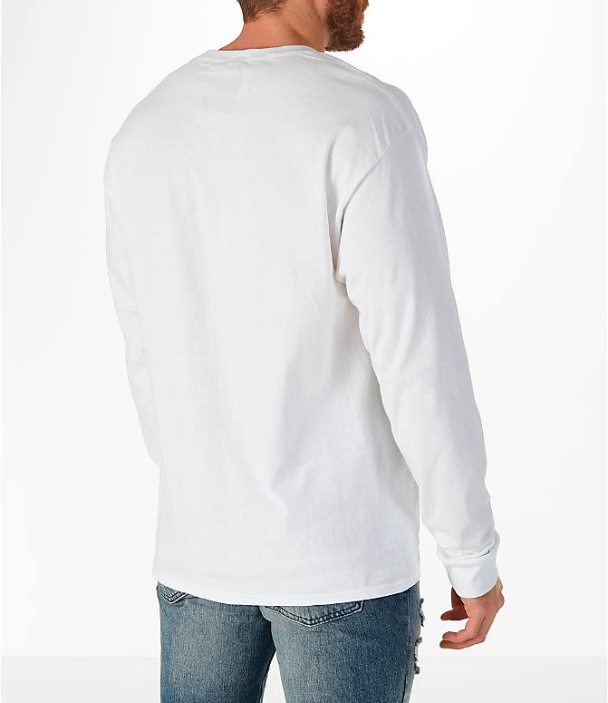 Back Right view of Men's Champion Classic Graphic Long-Sleeve T-Shirt in White