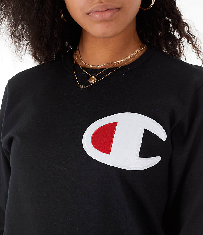 Detail 1 view of Women's Champion Heritage Long-Sleeve T-Shirt in Black