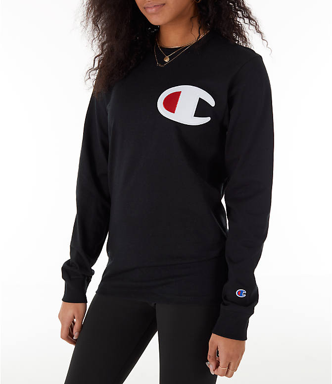 Front Three Quarter view of Women's Champion Heritage Long-Sleeve T-Shirt in Black