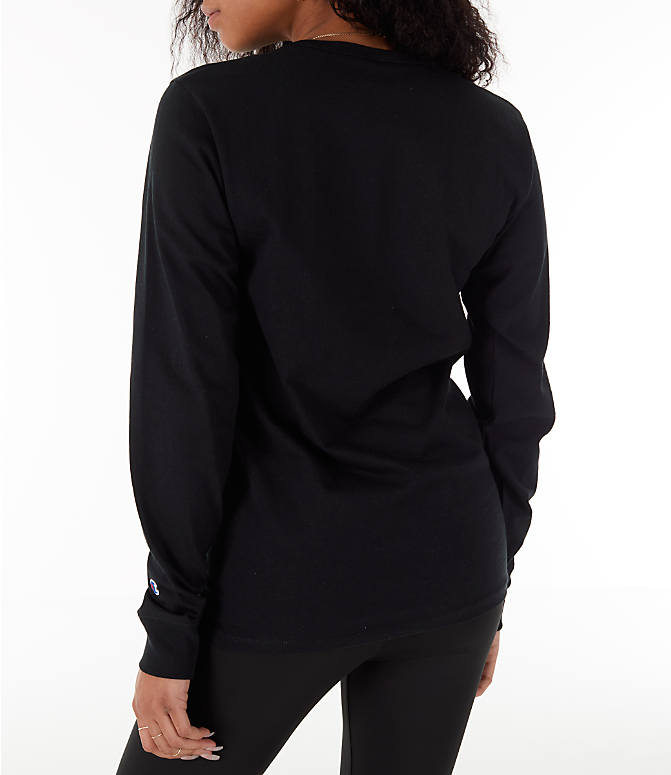 Back Left view of Women's Champion Heritage Long-Sleeve T-Shirt in Black