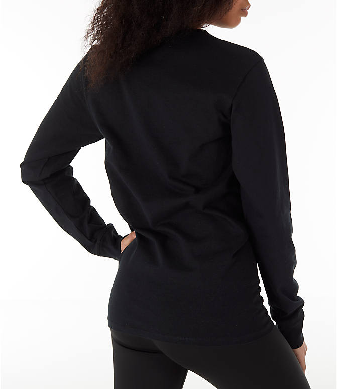 Back Right view of Women's Champion Heritage Long-Sleeve T-Shirt in Black
