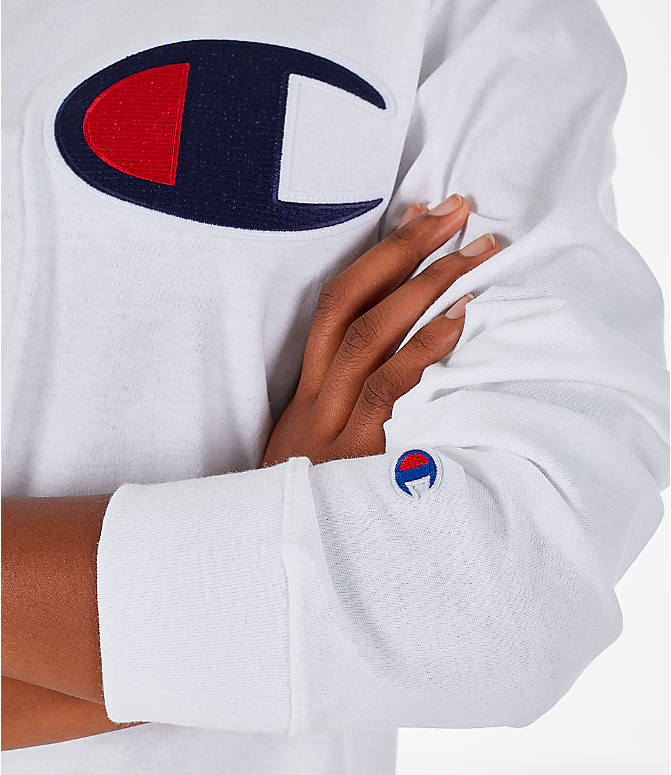 Detail 2 view of Women's Champion Heritage Long-Sleeve T-Shirt in White