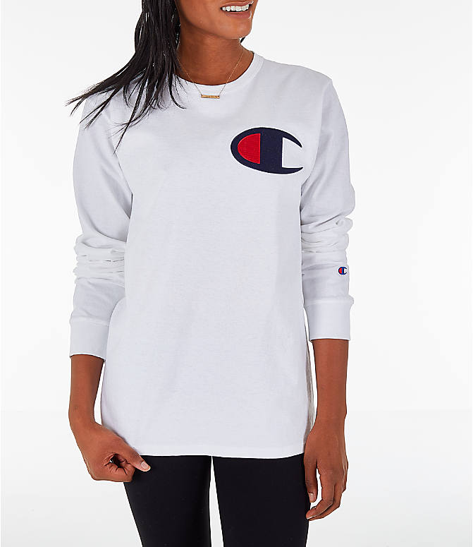 2a9c86643cc4 Front view of Women's Champion Heritage Long-Sleeve T-Shirt in White