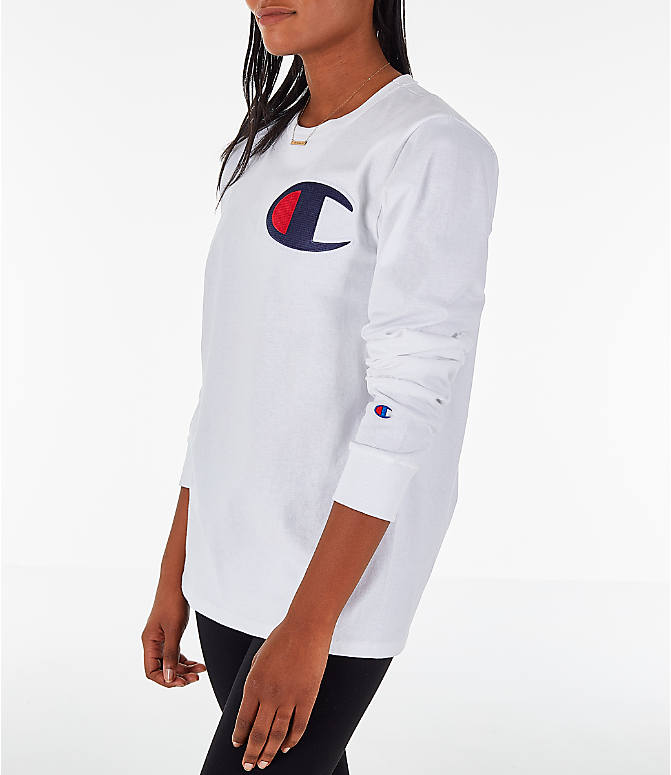 Front Three Quarter view of Women's Champion Heritage Long-Sleeve T-Shirt in White