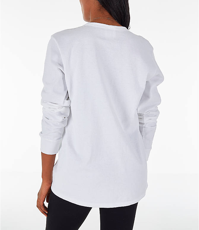 Back Left view of Women's Champion Heritage Long-Sleeve T-Shirt in White