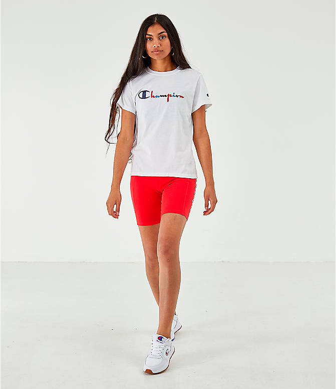 Front Three Quarter view of Women's Champion Script Logo T-Shirt in White